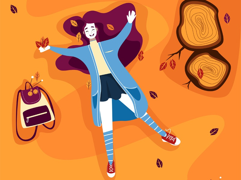 Hello October happy sneakers leaves tree rugzag illustration girl autumn