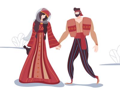 Armenian family romantic nature lovely illustration love humble groom devotion couple care affection