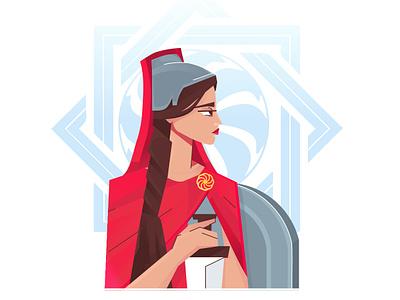 Armenian mythology 2 vector design ornament dribbble illustrator art 2d shield god godess sword old armenia characer girl woman war
