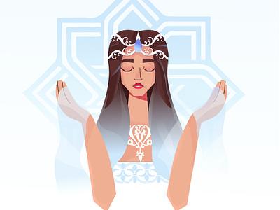 tsovinar design sea love godess god orgament nature vector character 2d flat girl illustration