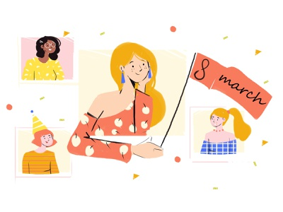 8march   !!! 8 hair flag day dress nation ui womensday march art design color happy vector character flat girl nature 2d illustration
