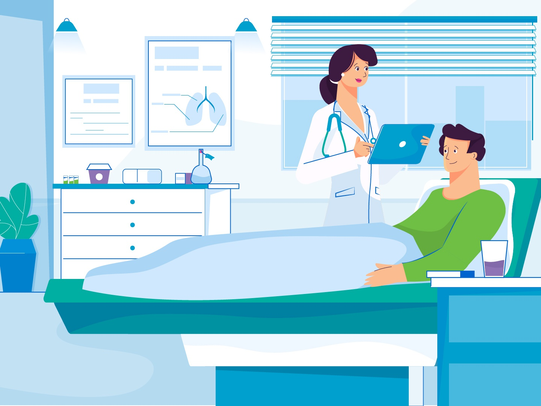 medicine hospital clinic operation doctor app city illustration design vector character medicine book treat wardrobe man windows ipad room plant doctor nurse