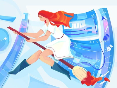 in the world of illustrator color ui art design vector flat character 2d illustration open happy paint world windows girl fantastic fly brush