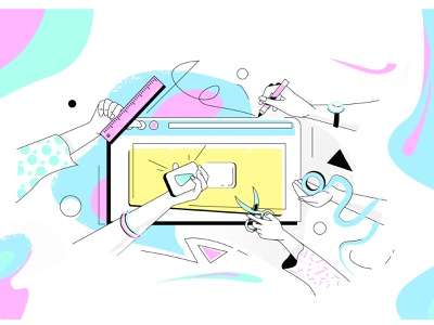 How To Make A Great Video Thumbnail nature hand drawn work video ui  ux texture scissors ruler play pencil illustrator illustraion hand design color clock blog character art 2d