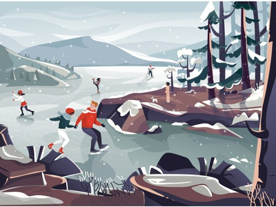 snow clothes snowball sky christmas tree happy plant mountain rock dance skates ice dog tree landscape snowboard cold christmas nature character illustration