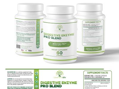 Digestive Enzyme pharmaceutical packaging pills pill medicine medical pharmacy bottle graphics design