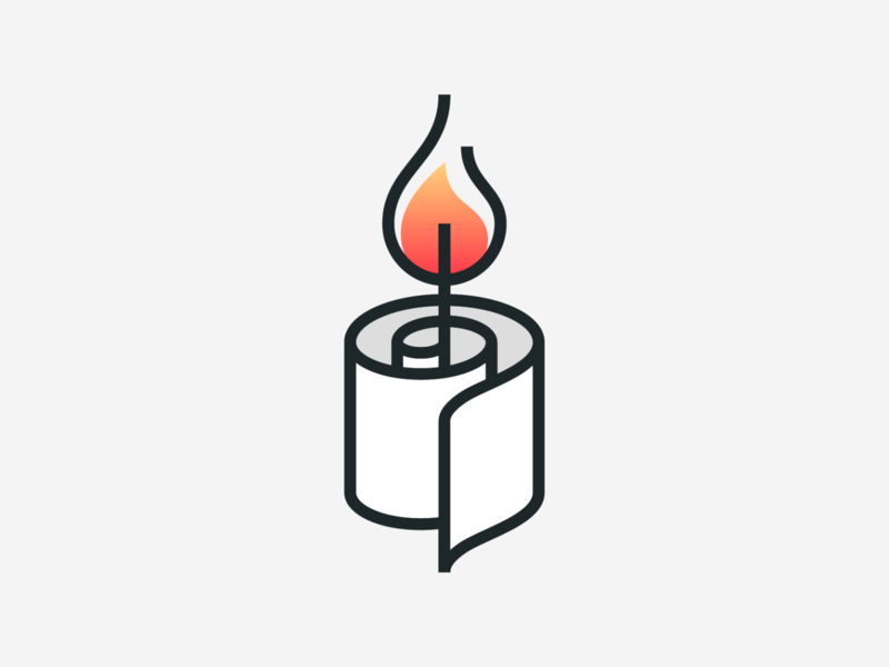 Paper-Candle stroke monoline paper fire flame candle illustration abstract geometric logodesign logo design symbol branding brand icon mark logo