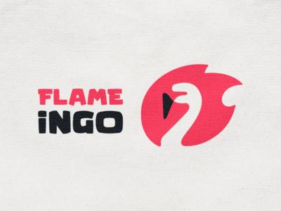 Flame-ingo! phoenix negative space fire flame wings goose swan crane flamingo bird animal illustration logodesign logo design symbol branding brand icon mark logo