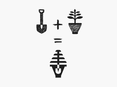Plantify! for sale sketch shovel leaf tree gardening planting plant negative space monochrome geometric logodesign logo design symbol branding brand icon mark logo
