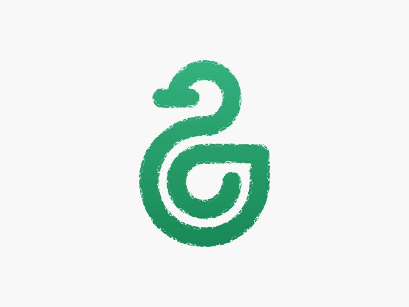 Monoline duck! texture green swirl wings goose duck monoline bird animal abstract geometric logodesign logo design symbol branding brand icon mark logo