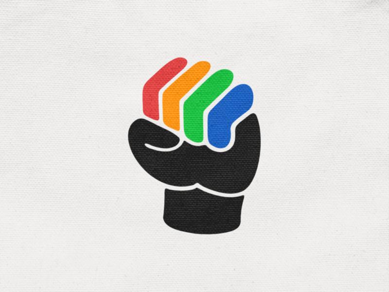 Together! power negative space diversity black fingers hand grip fist illustration monochrome logodesign logo design symbol branding brand icon mark logo