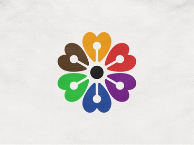 Together II charity peace love heart plant community together colors rose flower abstract geometric logodesign logo design symbol branding brand icon mark logo