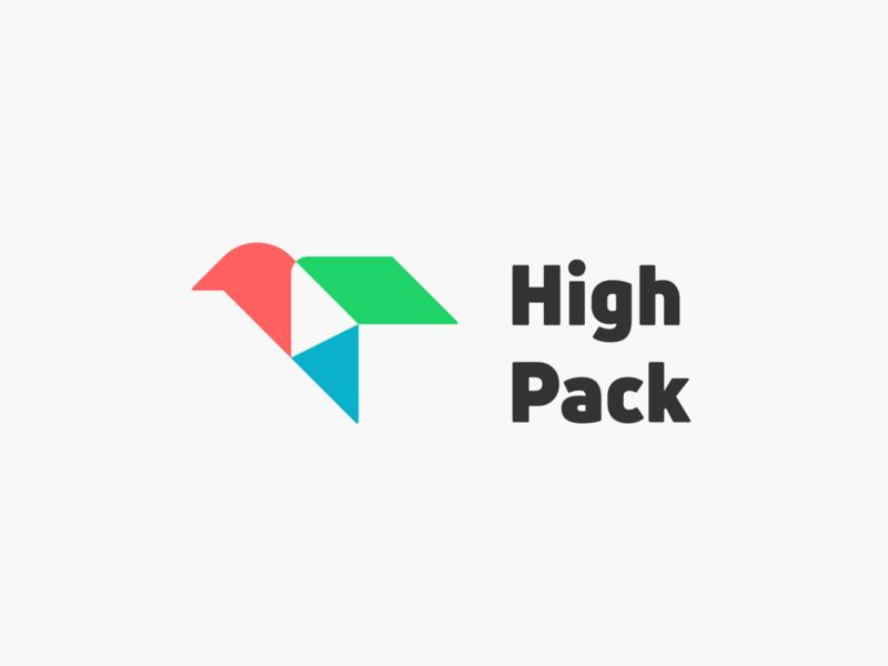 High Pack! brand identity animal box fast wings aviation delivery package pack bird monochrome geometric logodesign logo design symbol branding brand icon mark logo
