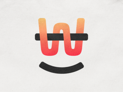 Happy W! logotype funny happy w typography letter type geometric monogram logodesign logo design symbol branding brand icon mark logo