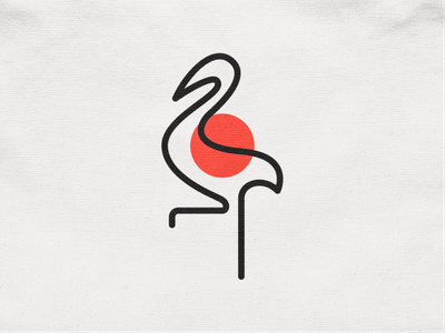 Monoline Crane! minimal monoline sun japan stork duck goose crane wings bird abstract monochrome logodesign logo design symbol branding brand icon mark logo