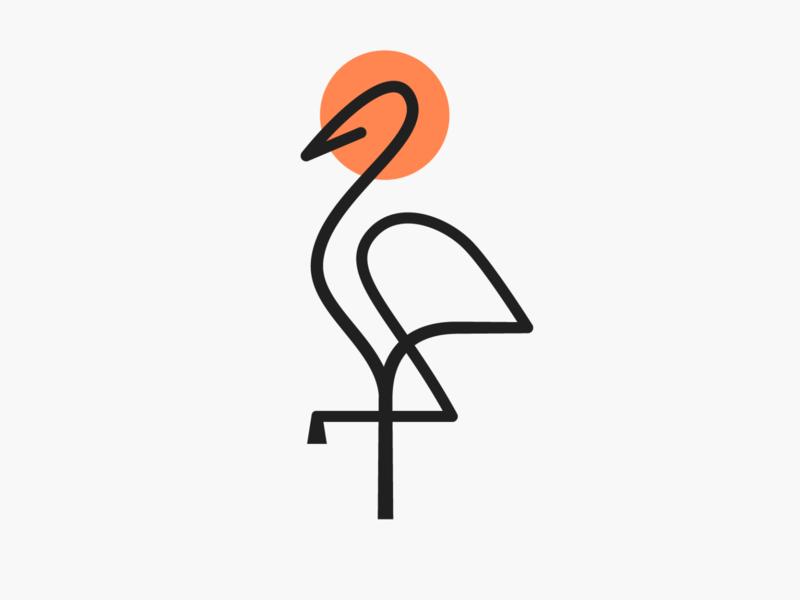 Monoline crane! sun stork minimal monoline wings bird crane abstract monochrome logodesign logo design symbol branding brand icon mark logo