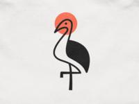 Crane mark! sun wings bird flamingo stork crane japan illustration abstract monochrome logodesign logo design symbol branding brand icon mark logo