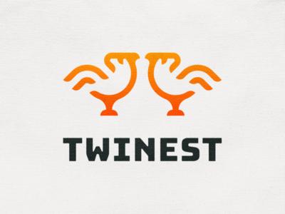 Twinest! line dove minimal monoline wings twinest nest twins twin bird monochrome geometric logodesign logo design symbol branding brand icon mark logo