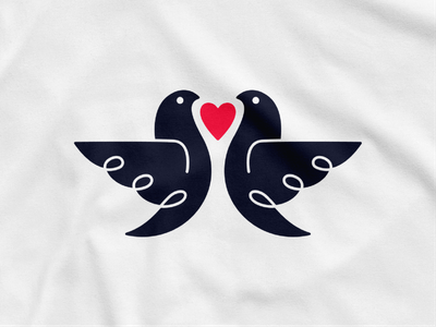 Twiny! twins heart love nest dove bird illustration abstract logodesign logo design symbol branding brand icon mark logo