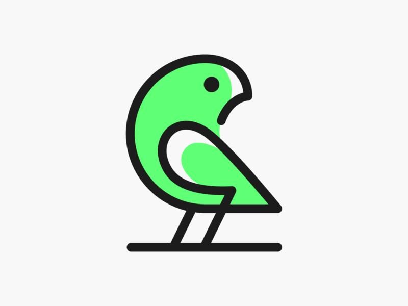 Rican! brand identity logos minimal monoline sparrow parrot wings nest bird illustration monochrome geometric logodesign logo design symbol branding brand icon mark logo