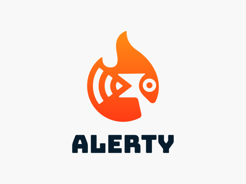 Alerty! logos flame attention alert fire parrot sound voice bird illustration abstract geometric logodesign logo design symbol branding brand icon mark logo