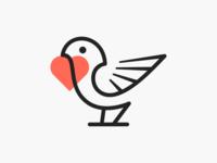 Fav-bird! brand identity logos love nest sparrow heart wings bird minimal illustrator abstract monochrome logodesign logo design symbol branding brand icon mark logo