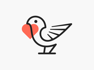Fav-bird! brand identity logos love nest sparrow heart wings bird minimal illustrator abstract monochrome logodesign logo design symbol branding brand icon mark logo