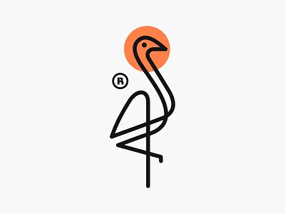 Monoline Crane Bird! brand identity minimal monoline logos bird swan stork flamingo craneo illustration monochrome geometric logodesign logo design symbol branding brand icon mark logo
