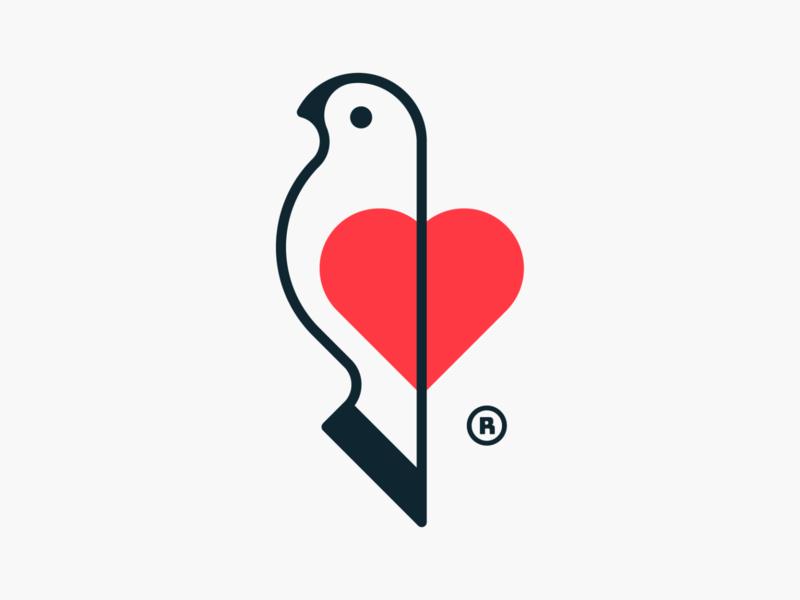 Heart Birdy! brand identity logos monoline pigeon dove wings wing love heart bird illustration geometric logodesign logo design symbol branding brand icon mark logo