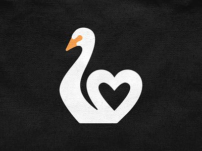Love Swan! brand identity logos love heart wing swan goose duck bird illustration logodesign logo design symbol branding brand icon mark logo