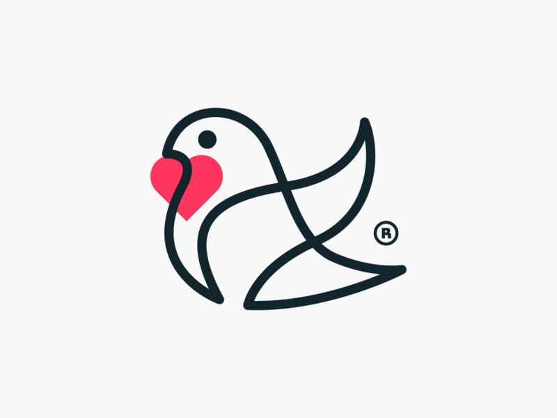 Monoline love dove! logos minimal stroke monoline peace heart love dove pigeon bird illustration abstract logodesign logo design symbol branding brand icon mark logo