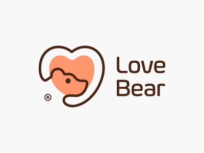 Love Bear! logotype logos visual identity brand identity bears wild love heart monoline bear animal illustration logodesign logo design symbol icon branding brand mark logo