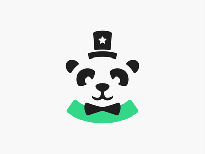 Handsome Panda! magic hat costume suit china bamboo bear pandas panda illustration monochrome geometric logodesign logo design symbol icon branding brand mark logo