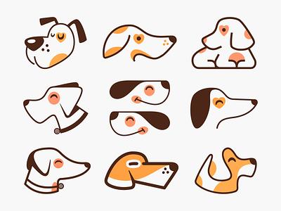 Dogs & Puppies! brand identity logos playful minimal monoline dogs puppies puppy pet dog animal illustration logodesign logo design symbol icon branding brand mark logo
