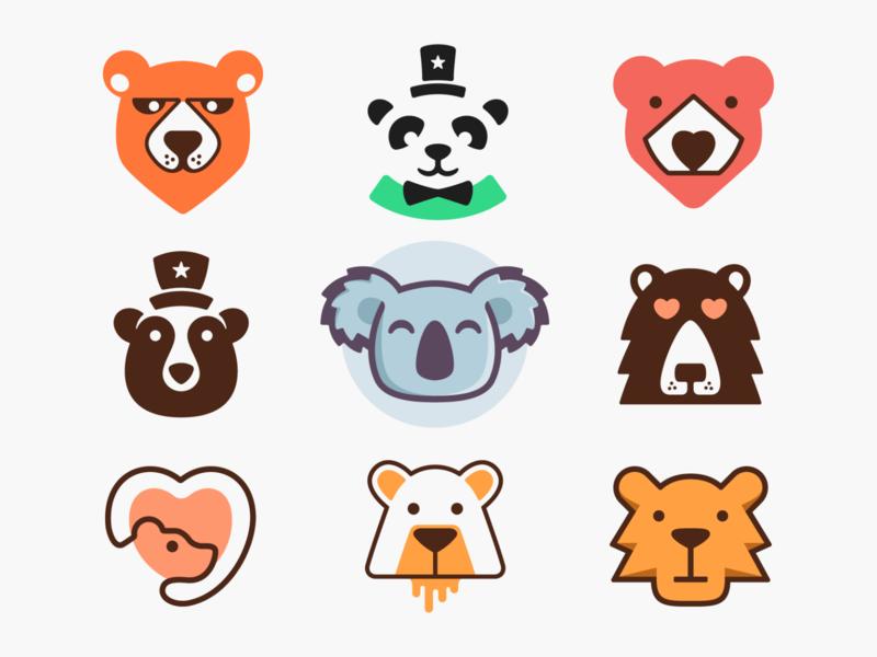 Bears! negative space hat monoline love heart koala panda bears bear animal illustration geometric logodesign logo design symbol icon branding brand mark logo