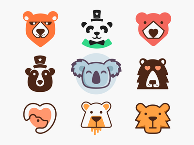 Bears! negative space hat monoline love heart koala panda bears bear animal illustration geometric logodesign logo design symbol icon branding brand mark logo