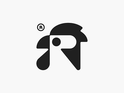 R + Rooster! animal abstract for sale wings black negative space bird chiken rooster illustration monochrome geometric logodesign logo design symbol branding mark brand logo icon