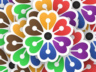 Individually Together Sticker! diversity plant community together rose sickers flower sticker illustration geometric logodesign logo design symbol branding mark brand icon logo