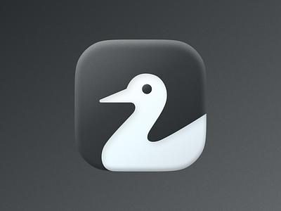 Duck icon! goose wings visual identity brand identity big sur ios app swan duck bird illustration monochrome icon logodesign logo design symbol branding mark brand logo