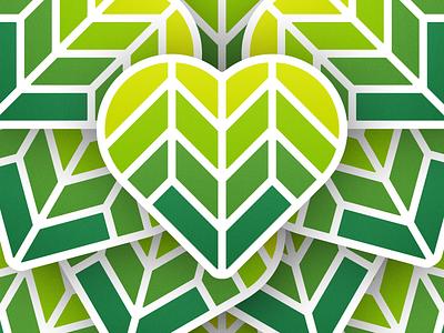 Bio Heart stickers! plants biology green tree sticker leaf love heart plant bio illustration geometric logodesign icon logo design symbol branding mark brand logo