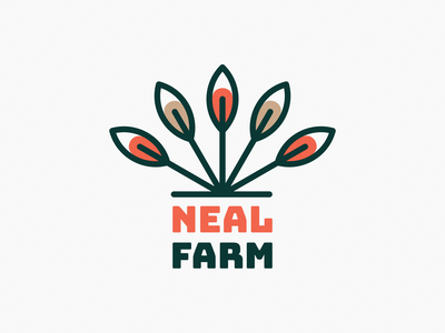 Neal Farm Logo! visual identity brand identity leaves leaf wheat tree flower plant farm illustration geometric icon logodesign logo design symbol branding mark brand logo