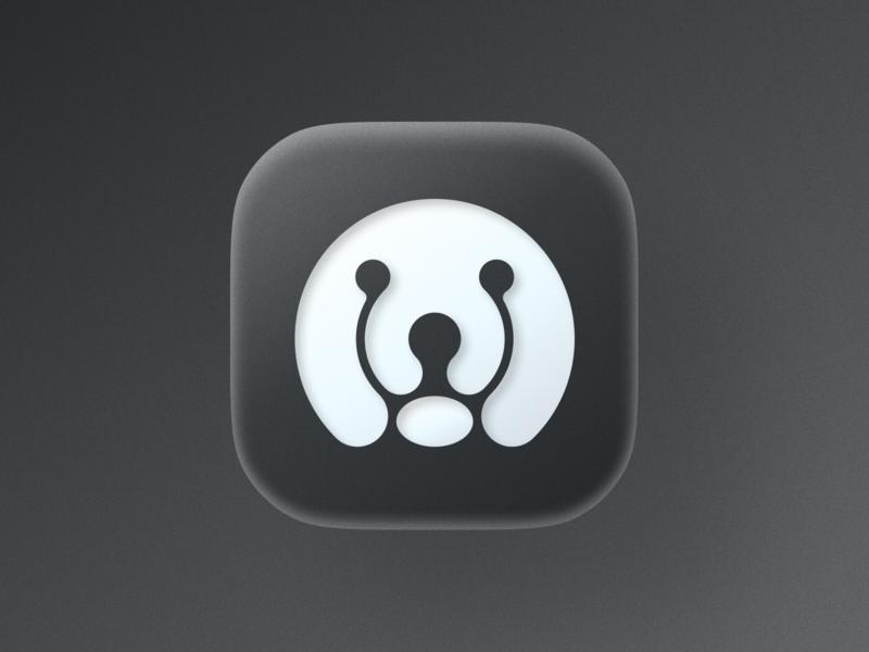 Dog icon! mac puppy app negative space ios big sur 3d pet dog monochrome illustration geometric icon logodesign logo design symbol branding mark brand logo