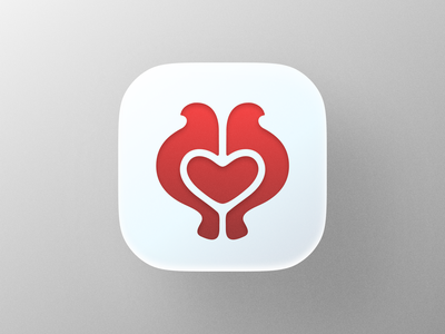 Love Doves icon! big sur ios app nest wings negative space pigeon heart love dove bird illustration icon logodesign logo design symbol branding mark brand logo