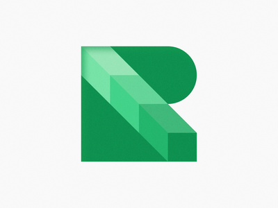 R Mark! visual identity brand identity square green lettermark 36daysoftype 3d type letter illustration icon geometric logodesign logo design symbol branding mark brand logo