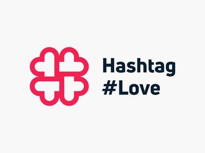 Hashtag #Love! visual identity brand identity app matchmaking hashtags tags tag hashtag love heart abstract geometric icon logodesign logo design symbol branding mark brand logo