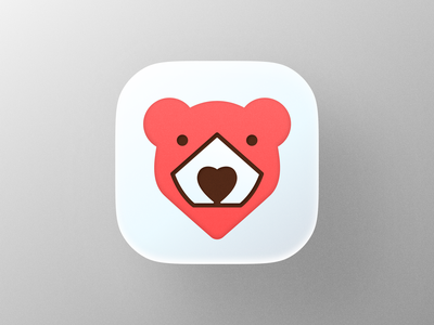Love Bear II  icon! visual identity brand identity red animal big sur app ios heart love bear illustration geometric logodesign logo design symbol icon branding mark brand logo