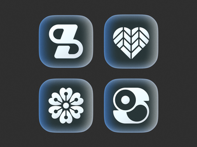 icons! flower type brand identity app ios glass gradient set figma monochrome illustration geometric icon logodesign logo design symbol branding mark brand logo