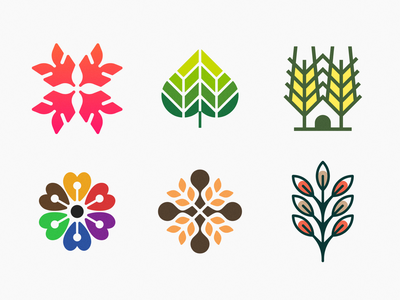 Plants & Flowers icons! brand design house icons set brand identity wheat heart plant rose flower illustration geometric icon logodesign logo design symbol branding mark brand logo