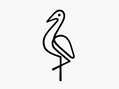Monoline Crane! linework branding design brand identity minimal bird swan stork crane monoline monochrome geometric illustration logodesign icon logo design symbol branding mark brand logo