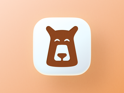 Happy Bear icon! brand identity big sur app ios playful cute negative space honey brown bear animal illustration logodesign icon logo design symbol branding mark brand logo